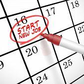 Start New Job Words Circle Marked On A Calendar