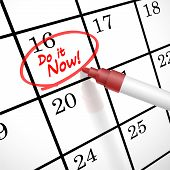Do It Now Words Circle Marked On A Calendar