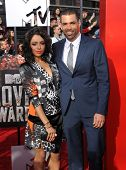 LOS ANGELES - APR 13:  Kat Graham & Cottrell Guidry arrives to the 2014 MTV Movie Awards  on April 1
