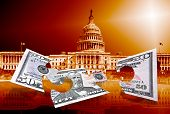 Fifty Dollars Puzzle On Capitol Background