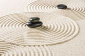 A japanese zen garden with black pebbles