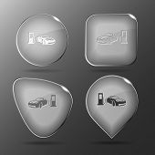 Car fueling. Glass buttons. Raster illustration.