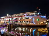 Saigon River floating restaurant in Ho Chi Minh, Vietnam