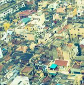 Vintage Style  Image Of Colorful Homes In Crowded Indian City Trichy,  India, Tamil Nadu