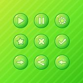 Green game UI - vector set of buttons for mobile game
