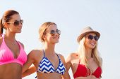 summer vacation, holidays, friendship and people concept - group of smiling young women in sunglasses