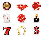 stock photo of deuce  - Illustration set of casino and gambling icons - JPG