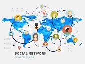 Social Network Vector Concept. Flat Design Illustration for Web Sites Infographic Design. Earth Geometric Map. Mobile Technologies. People Icons.