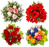 Four Colorful Flowers Bouquet. Roses, Amaryllis, Tulips