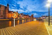 New promenade at Motlawa river in city center of Gdansk, Poland