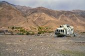 pic of wrecking  - Plane wreck lying on the barren land in Afghanistan - JPG