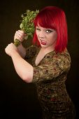 Punky Girl With Red Hair And Flowers