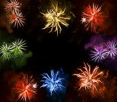Beautiful Colorful Fireworks Exploding Over A Dark Night Sky