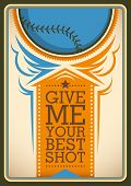 Illustrated baseball poster in color. Vector illustration.
