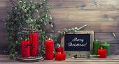 Vintage Christmas Decoration Birdcage And Red Candles