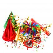 Garlands, Streamer, Cracker, Party Glasses And Confetti