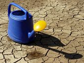 watering can full of water on dry cracked soil