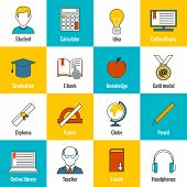 Education Icons Flat