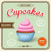 picture of cupcakes  - Sweet food dessert cupcake on cafe retro paper poster vector illustration - JPG