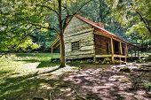 stock photo of gatlinburg  - The Ogle Historical Cabin located along Roaring Fork Motor Nature Trail - JPG