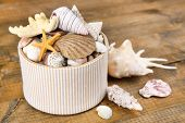 White box full of sea gifts on brown wooden background