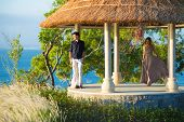 picture of gazebo  - Lovely Couple in Gazebo on Wedding Day - JPG