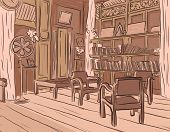 Brown sketch of an olden reading room or living room with wooden furniture