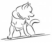 Lineart sketch of a toy dog wearing a shirt