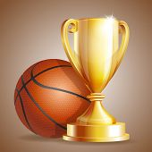 picture of trophy  - Golden trophy cup with a Basketball ball - JPG