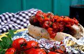 Hotdog  With Baked Tomatoes