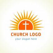 Cross on the sun church logo