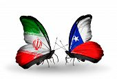 Two Butterflies With Flags On Wings As Symbol Of Relations Iran And Chile