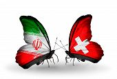 Two Butterflies With Flags On Wings As Symbol Of Relations Iran And Switzerland