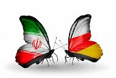 Two Butterflies With Flags On Wings As Symbol Of Relations Iran And South Ossetia