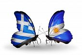 Two Butterflies With Flags On Wings As Symbol Of Relations Greece And Argentina