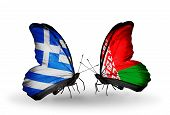 Two Butterflies With Flags On Wings As Symbol Of Relations Greece And  Belarus