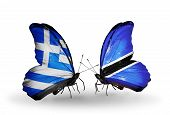 Two Butterflies With Flags On Wings As Symbol Of Relations Greece And Botswana
