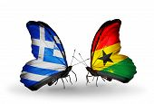 Two Butterflies With Flags On Wings As Symbol Of Relations Greece And Ghana