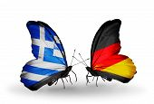 Two Butterflies With Flags On Wings As Symbol Of Relations Greece And Germany