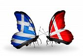 Two Butterflies With Flags On Wings As Symbol Of Relations Greece And Denmark