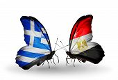 Two Butterflies With Flags On Wings As Symbol Of Relations Greece And Egypt