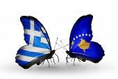 Two Butterflies With Flags On Wings As Symbol Of Relations Greece And Kosovo