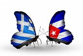 Two Butterflies With Flags On Wings As Symbol Of Relations Greece And Cuba
