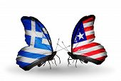 Two Butterflies With Flags On Wings As Symbol Of Relations Greece And Liberia