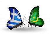 Two Butterflies With Flags On Wings As Symbol Of Relations Greece And Mauritania