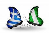 Two Butterflies With Flags On Wings As Symbol Of Relations Greece And Nigeria
