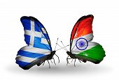 Two Butterflies With Flags On Wings As Symbol Of Relations Greece And India