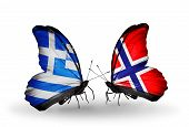 Two Butterflies With Flags On Wings As Symbol Of Relations Greece And Norway
