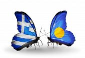 Two Butterflies With Flags On Wings As Symbol Of Relations Greece And Palau