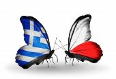 Two Butterflies With Flags On Wings As Symbol Of Relations Greece And Poland